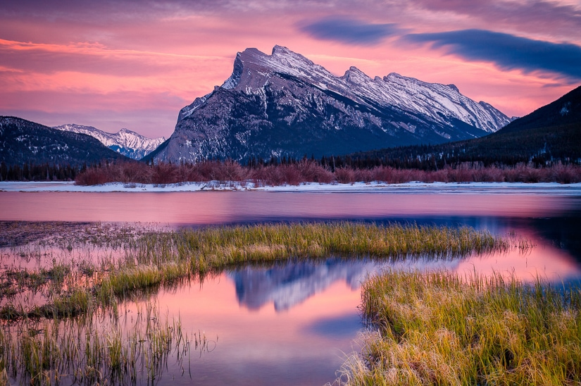 Sunrise at Vermillion Lakes in Banff Town, a must on your Banff three day itinerary