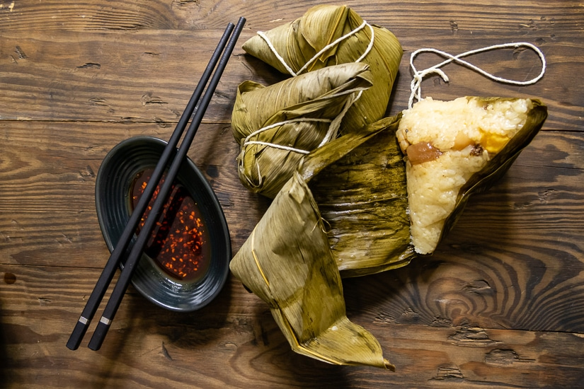 Zongzi, a traditional rice dumpling that people in Taiwan eat during the Dragon Boat Festival