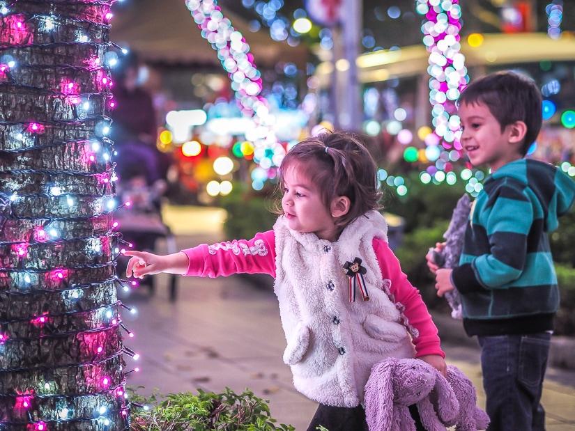 My kids seeing the Christmas lights in Banqiao, New Taipei City