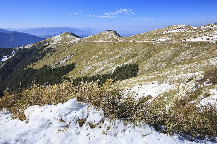 Snow on the peak of Hehuanshan in winter in taiwan