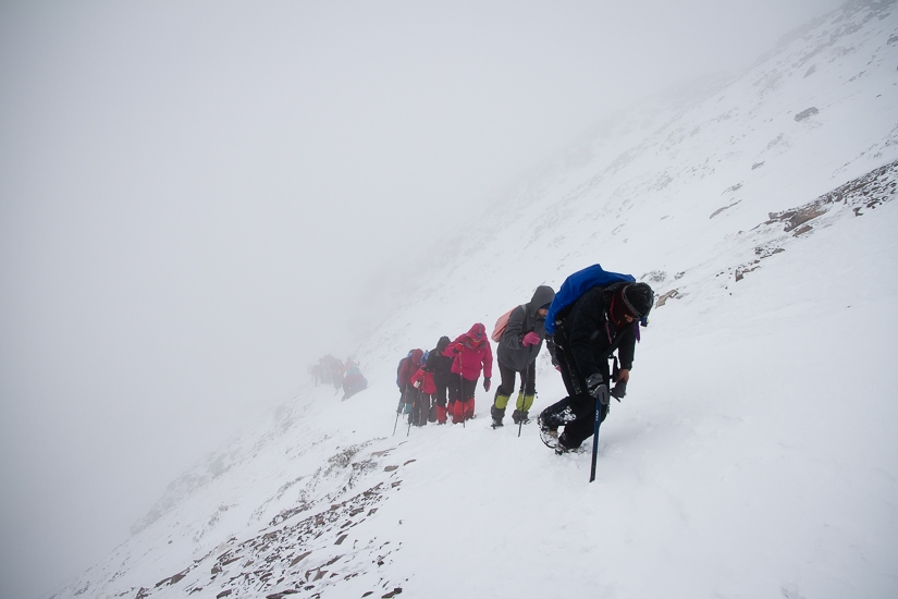 Hikers near the top of Snow Mountain in winter