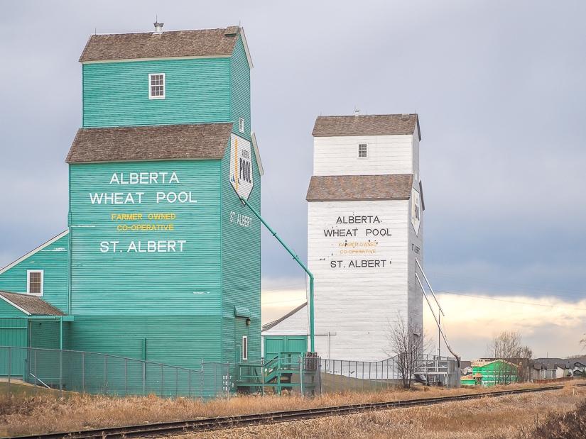 Two grain elevators in St. Albert, Alberta