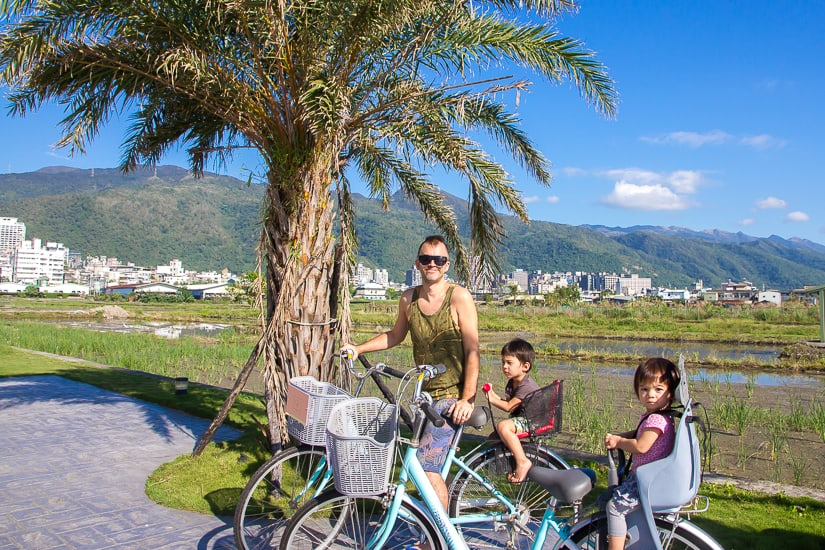 Me and my two kids riding bikes in Jiaoxi