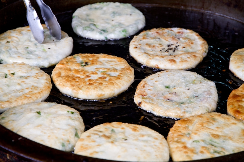 Green onion cakes in Jiaoxi, Taiwan