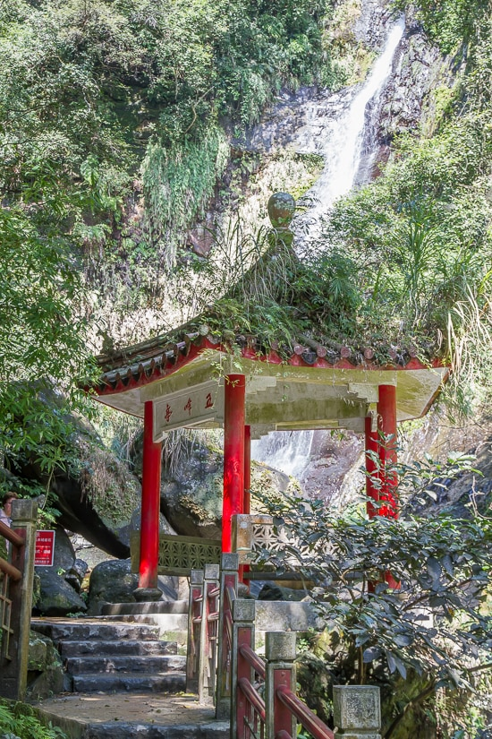 Chinese pavilion at Wufengqi Waterfall, one of the best things to do in Jiaoxi