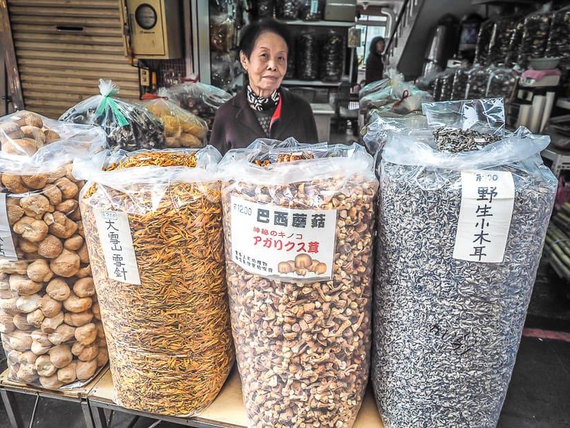 Mushroom shop on Wulai Old Street