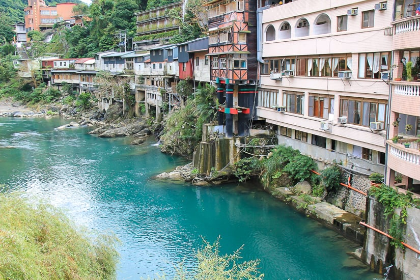 Tonghou River, a tributary of Nanshi River, at the entrance to Wulai Old Street