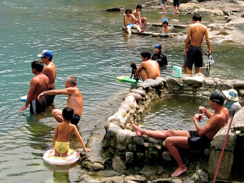 Locals soaking in thermal springs at Wulai Hot Spring