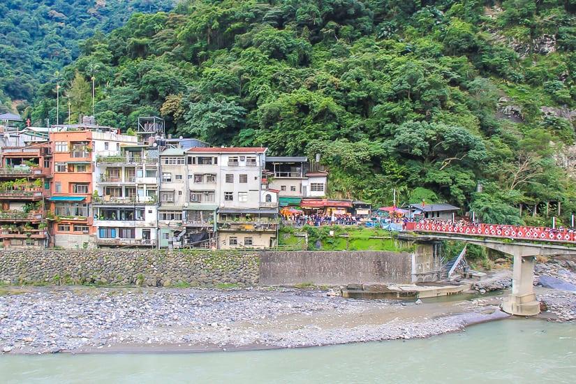 Wulai Old Street shot from across the Nanshi River in Wulai Taipei