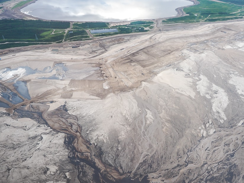 Athabasca Oil Sands in Fort McMurray viewed from a plane