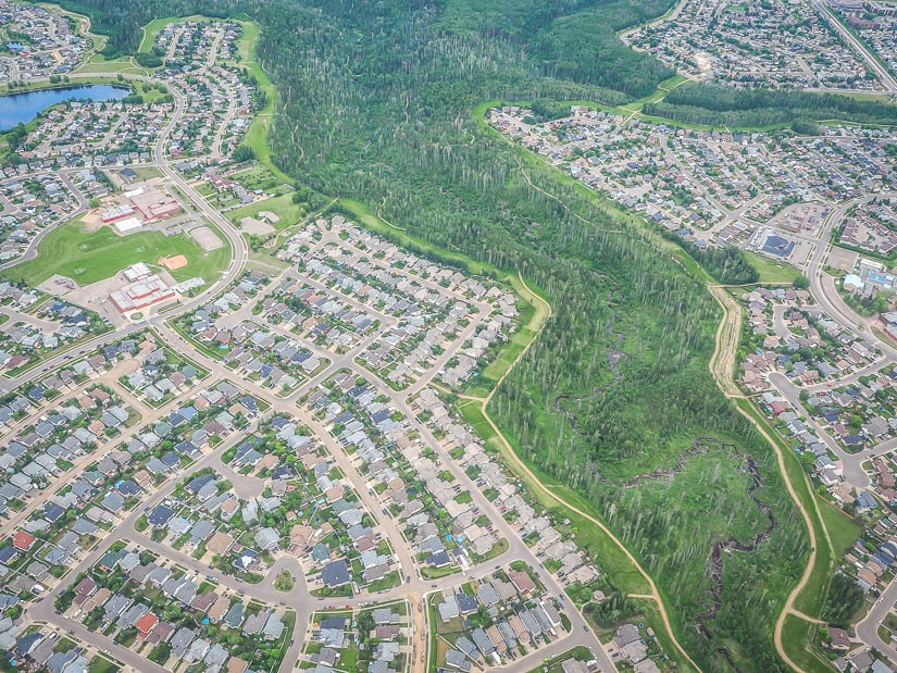 Birchwood Trails river valley in Fort McMurray viewed from above
