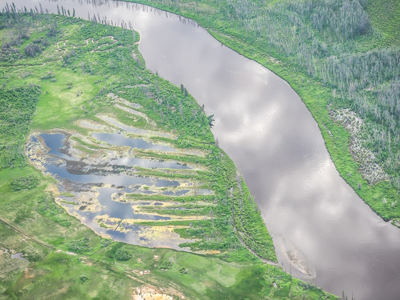 Clearwater River in Fort Mac viewed from above on an aerial tour