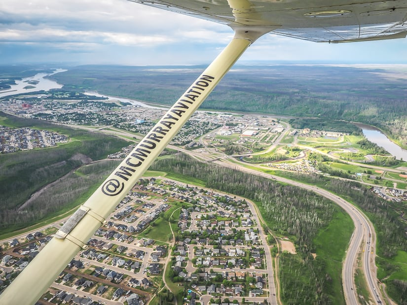 Seeing Fort McMurray from above on a McMurray Aviation aerial tour, one of the top tourist attractions in Fort McMurray