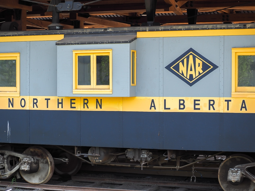 Old train car at Heritage Shipyard in Fort McMurray