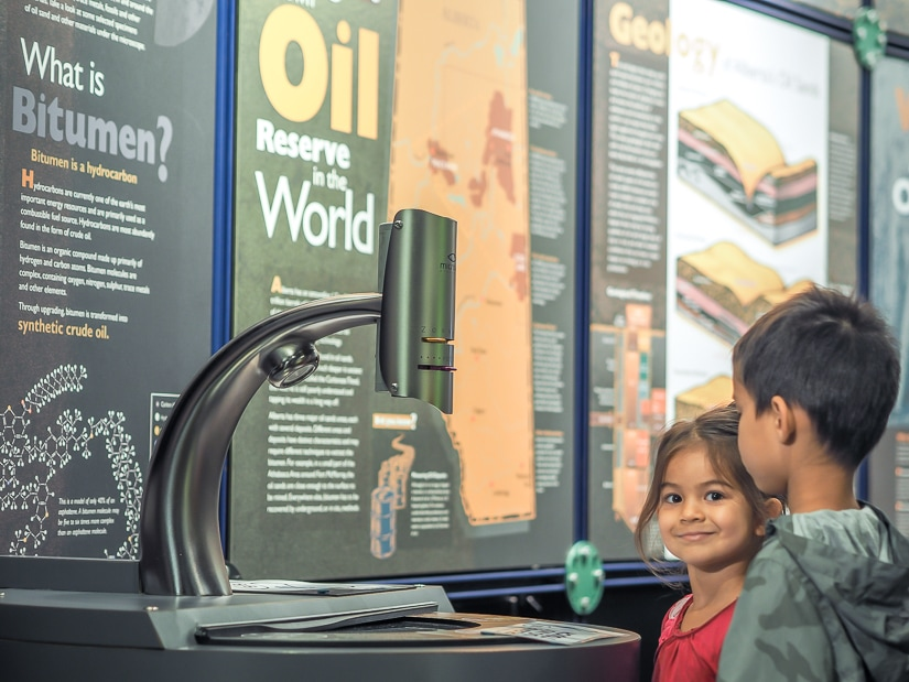 Kids at the Oil Sands Discovery Center, one of the best things to do in Fort McMurray with kids