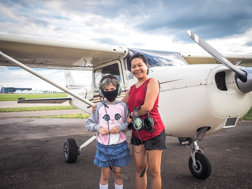 My wife and niece about to board our aerial tour of Fort McMurray