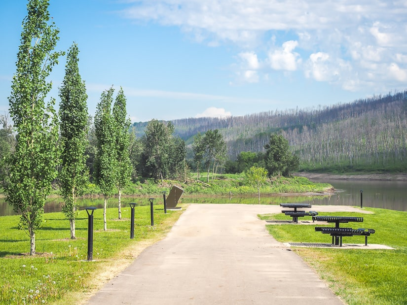 Picnic tables at Snye Point in Fort McMurray