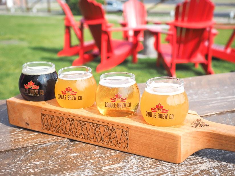 Beer flight (sample tray) of beers at Coulee Taproom, one of the best breweries in Lethbridge