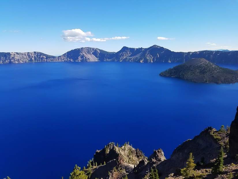 Blue expanse of Crater Lake National Park, which is ideal to visit in autumn