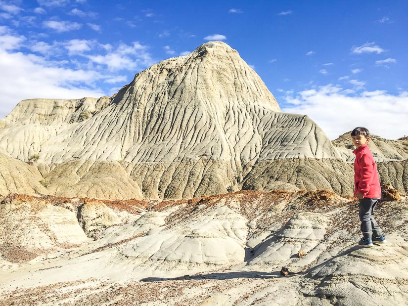 My son standing amongst the amazing bandlands during our Dinosaur Provincial Park camping trip
