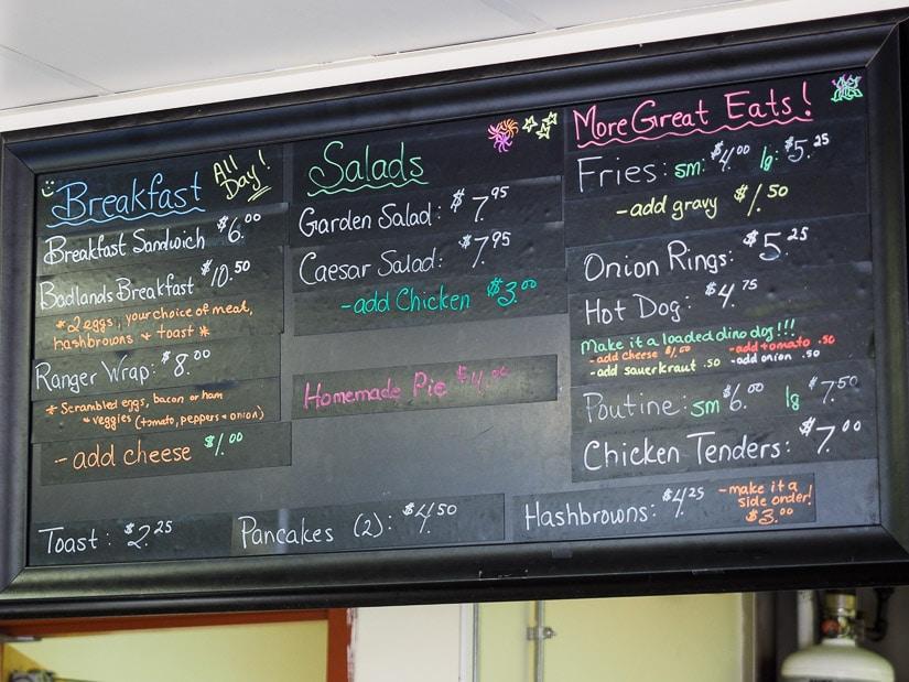Food menu at Dinosaur Provincial Park campground restaurant cafe