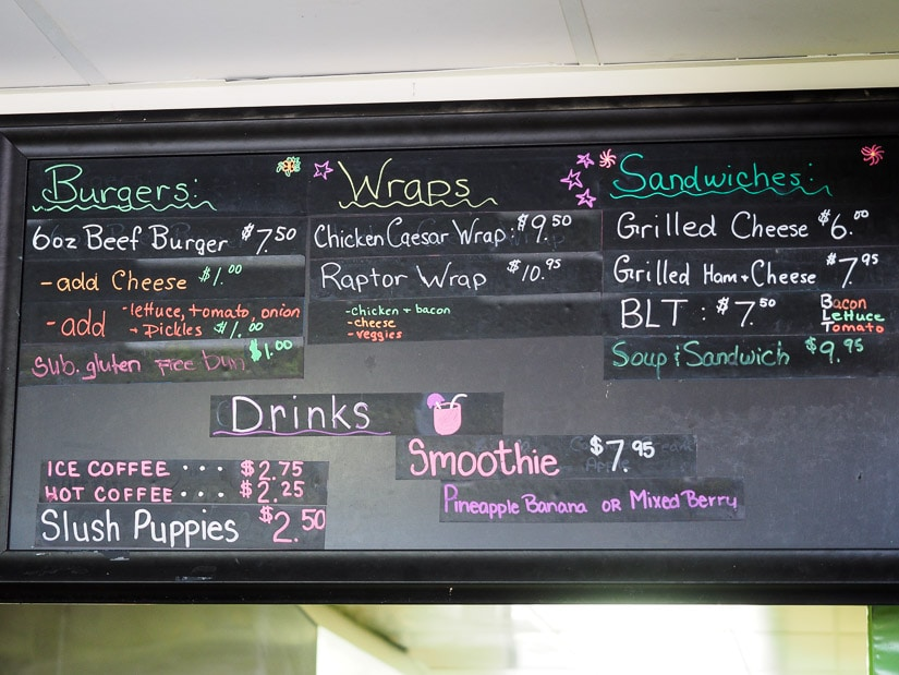 Second picture of food menu at Dinosaur Provincial Park campground restaurant cafe