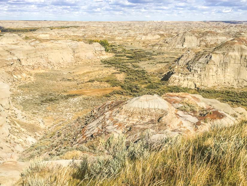 View looking down on Dinosaur Provincial Park from the entrance sign viewpoint