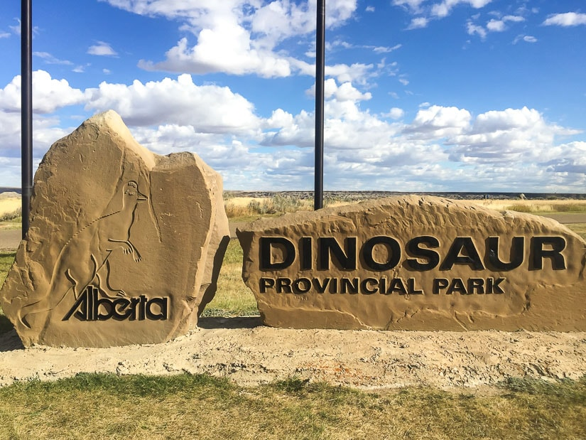 Entrance sign of Dinosaur Provincial Park