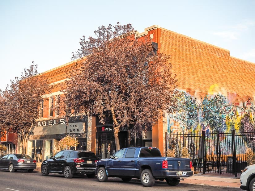 A street view of brick buildings in downtown Medicine Hat