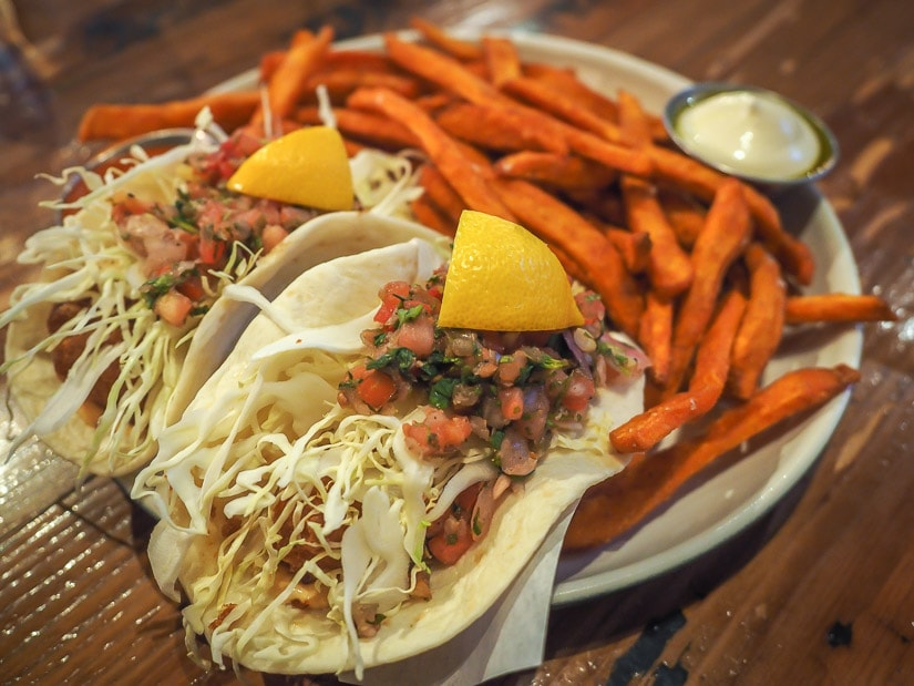 Fish tacos at the Local, one of the most popular bars in Medicine Hat