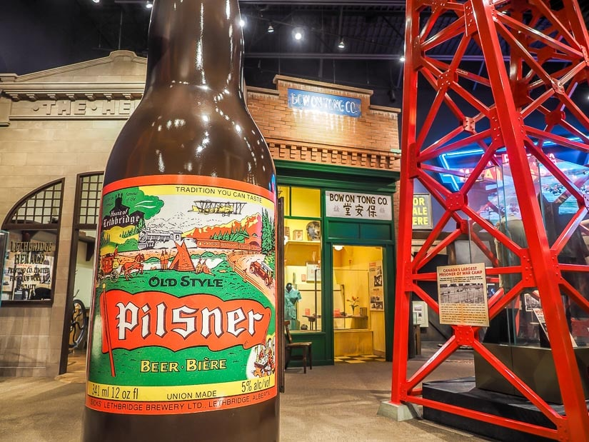 Giant Lethbridge Pilsner beer and other displays in Lethbridge Galt Museum Discovery Hall
