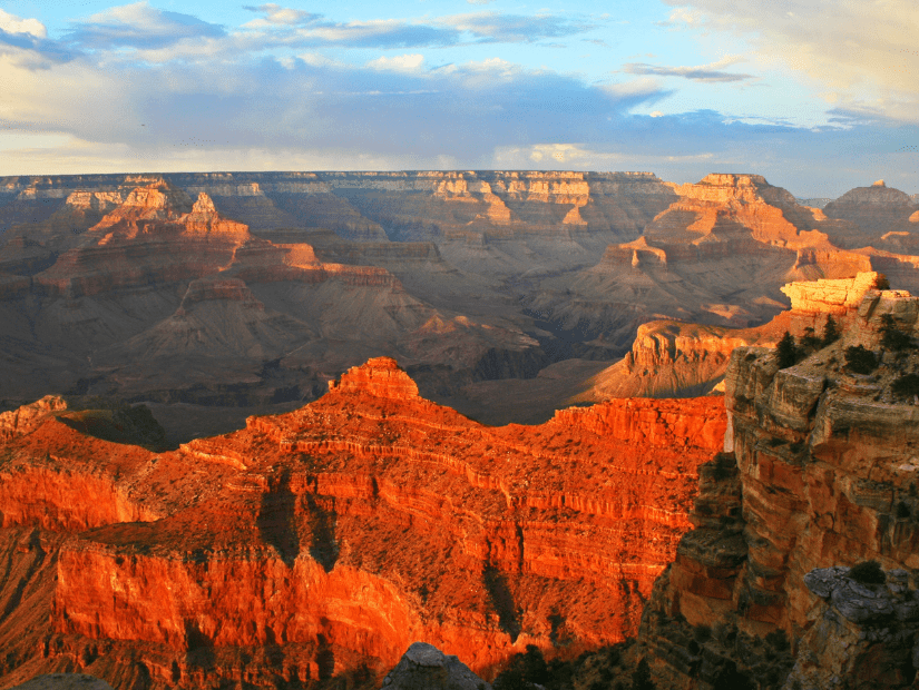 Grand Canyon red colored cliffs in autumn