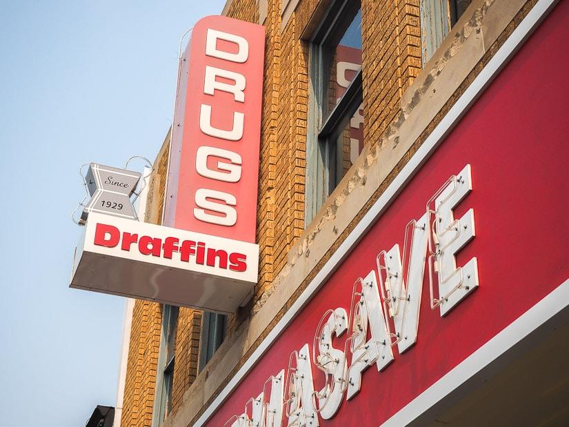 Historic drugstore in Downtown Lethbridge