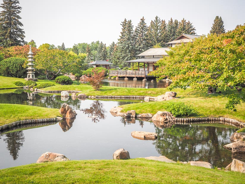 View of gardens and pavillion at Nikka Yuko Japanese Garden, one of the top things to do in Lethbridge