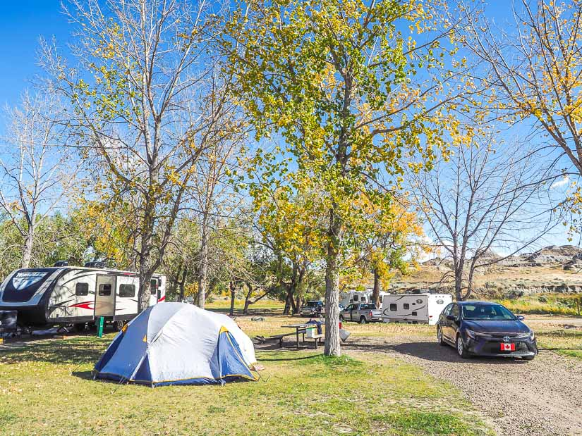 View of our campsite, car, and tent in Dinosaur Park Camground