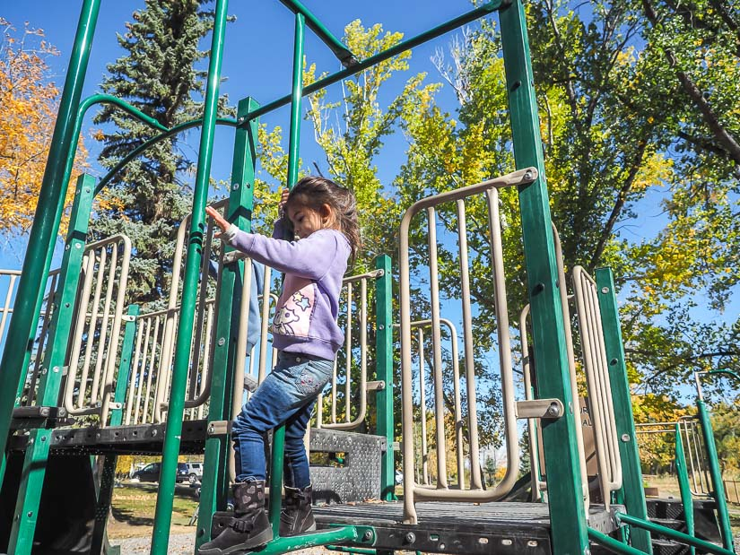 Kids playing in playground at Dinosaur Provincial Park