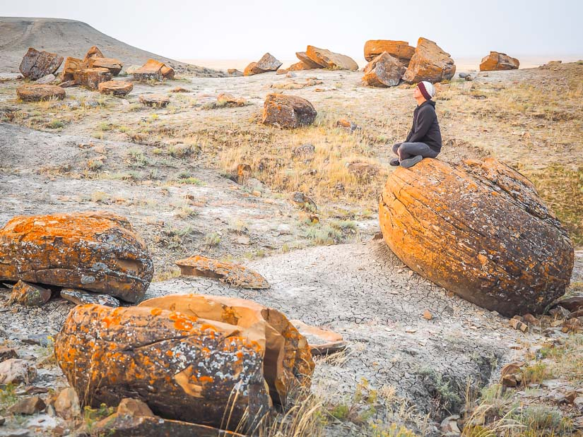 Me on a rock at Red Rock Coulee