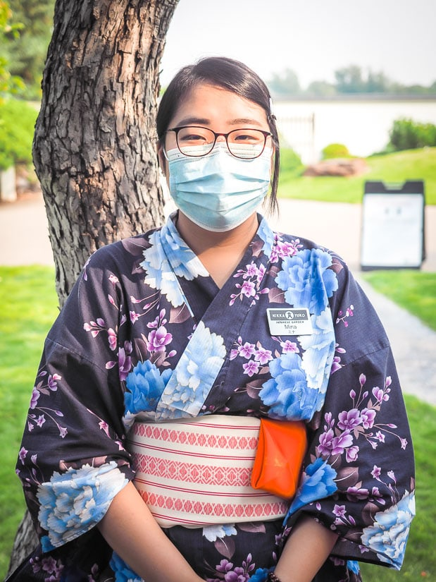 Woman in traditional Japanese clothing who performed tea ceremony at Nikka Yuko