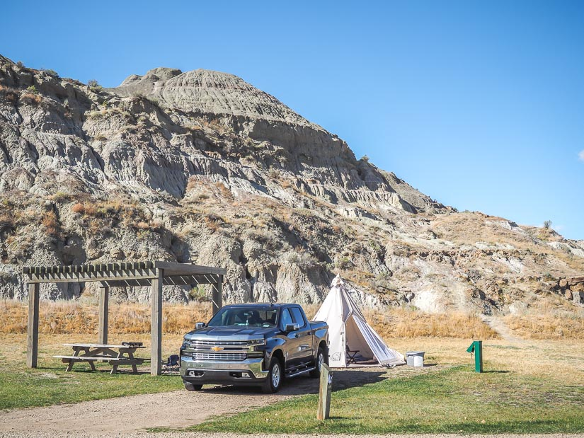 A teepee in a campsite at Dinosaur Provincial Campground