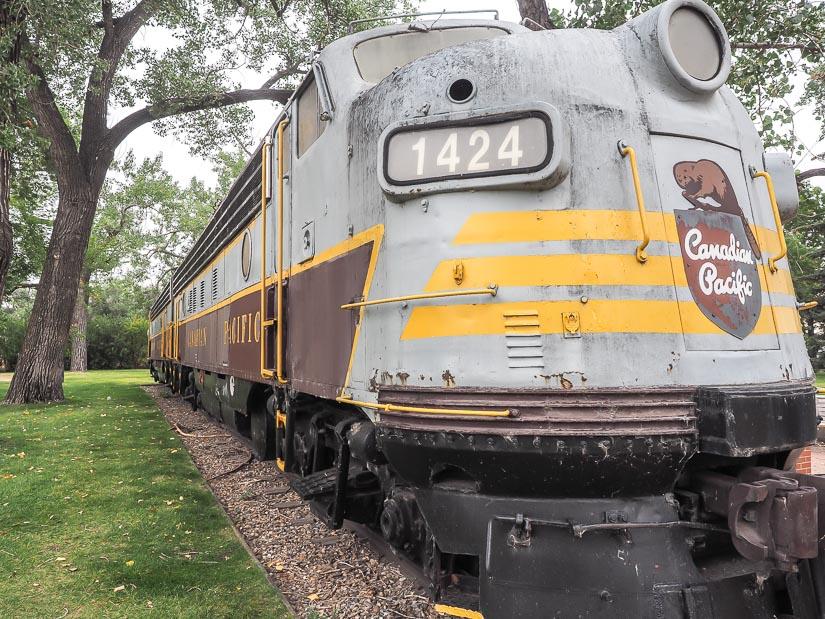 An old train car at Riverside Veterans' Memorial Park, Medicine Hat