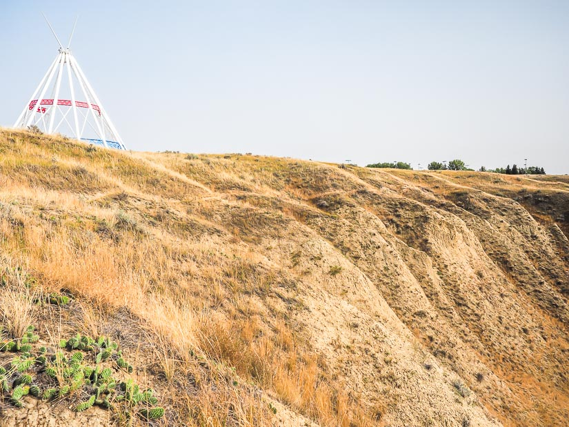 Saamis teepee looking down on Seven Persons Coulee and the Saamis Archaeological site
