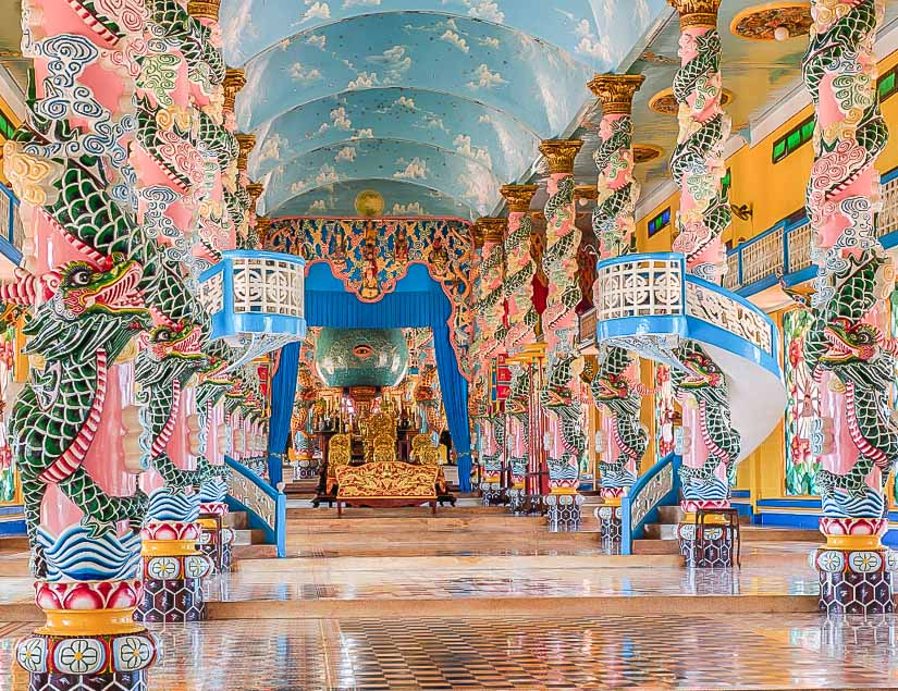 Interior of The Cao Dai Holy See in Vietname