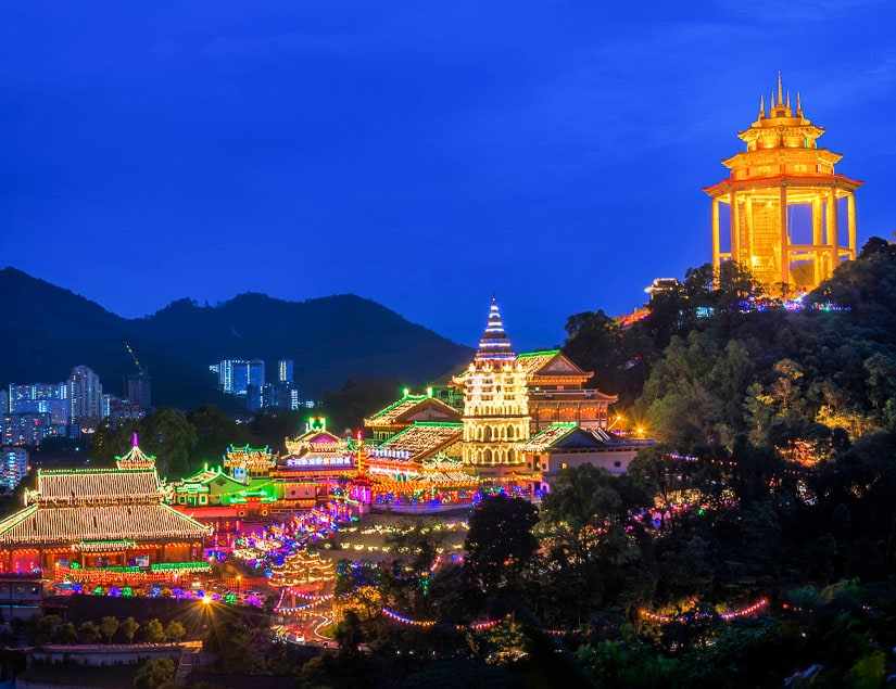 Kek Lok Si Temple, Penang, Malaysia at dusk with lanterns during Chinese New Year