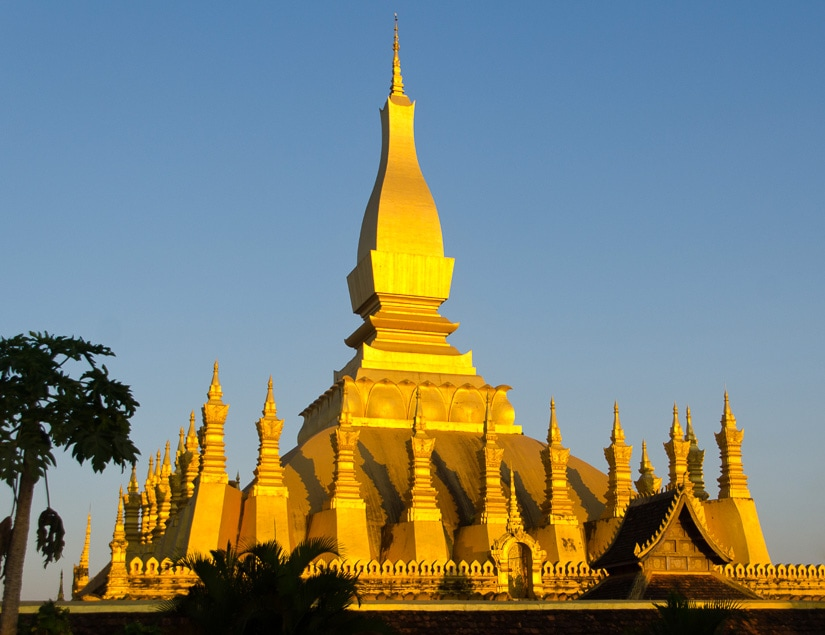 Pha That Luang, the national temple of Laos, and one of the most beautiful temples in Southeast Asia