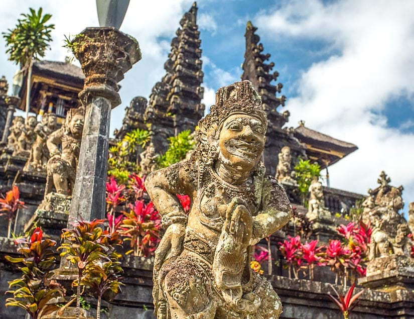 Statues and entrance way to Pura Besakih in Bali