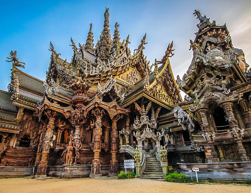 The Sanctuary of Truth, a wooden temple in Pattaya, Thailand, very unique among the temples of Southeast Asia