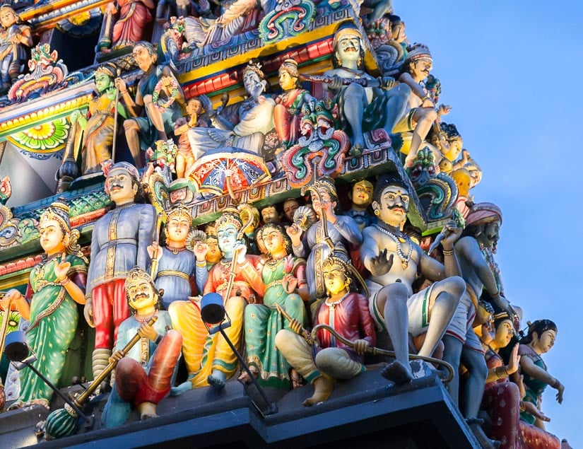 Details of the entrance tower of Sri Mariamman, the most important Hindu temple in Singapore