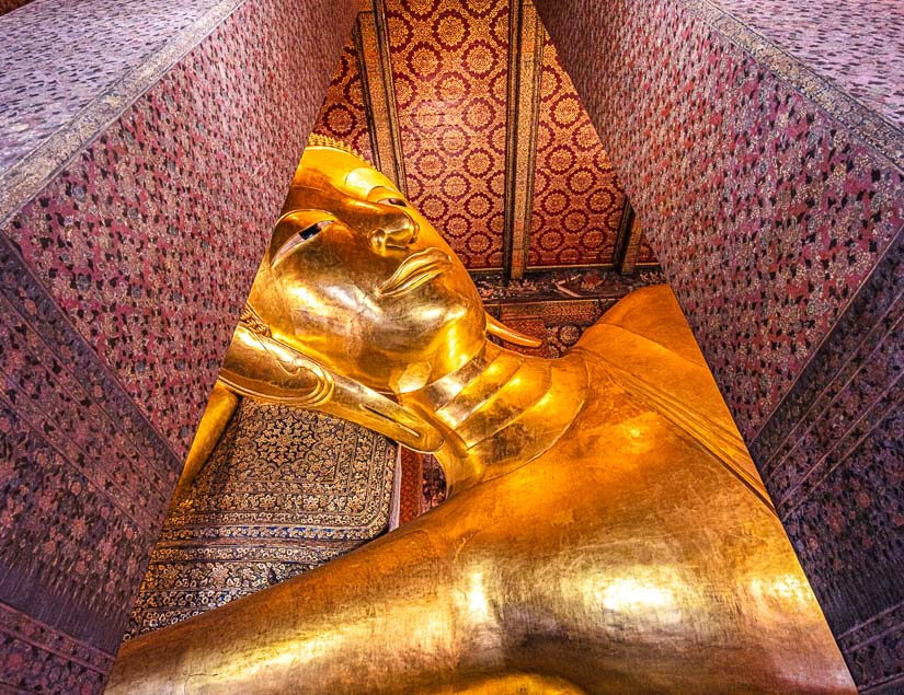 Reclining Buddha in Wat Pho, Bangkok, one of the most important temples in Thailand and Southeast Asia