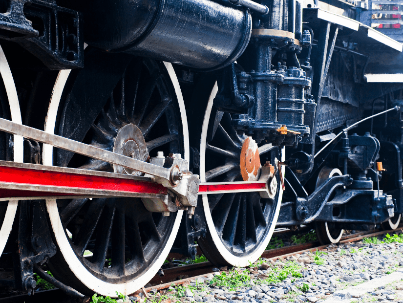 Close up of train wheels at Hualien Railway Culture Museum