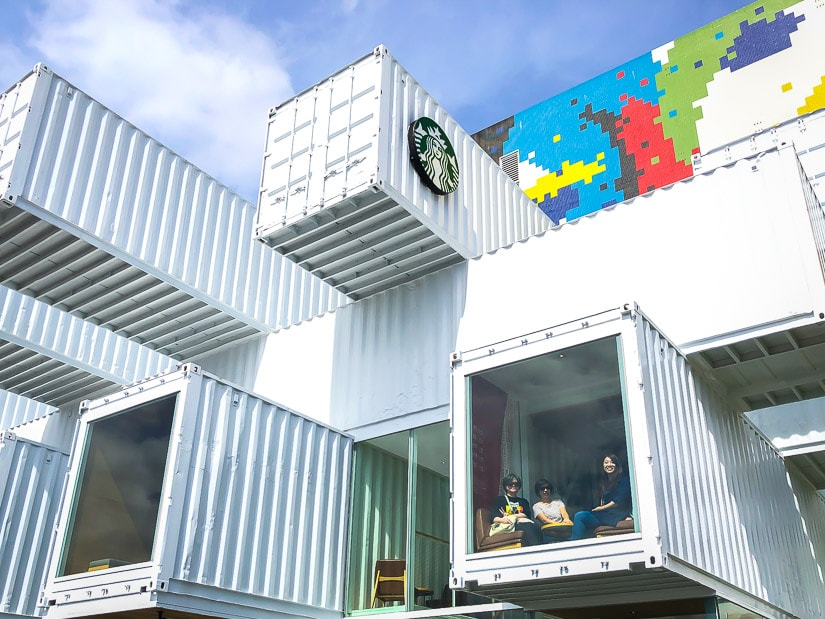 People dining in the Hualien Shipping Container Store, one of the coolest Starbucks in Taiwan